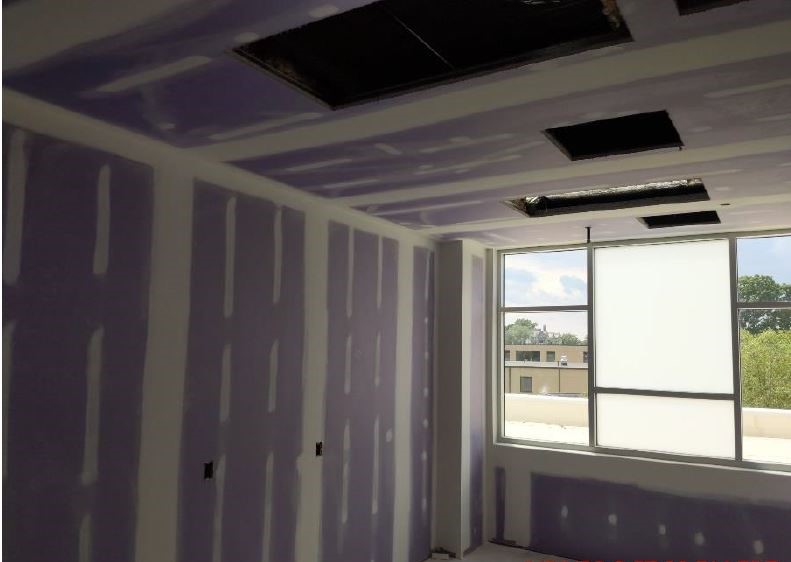 A work-in-progress photo of an under-construction interior room in Belmont's new inpatient hospital