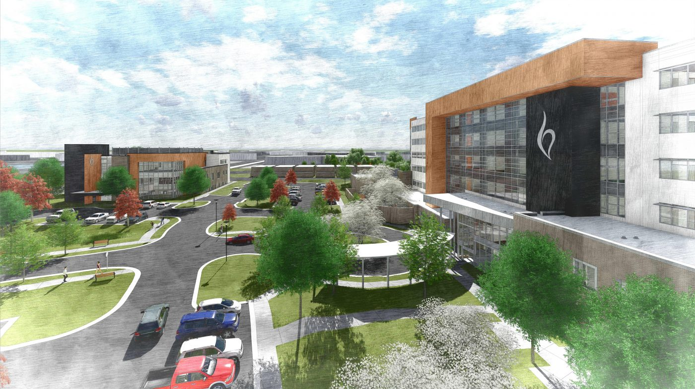 A rendering of the upcoming inpatient hospital and outpatient services building at Belmont Behavioral Health System
