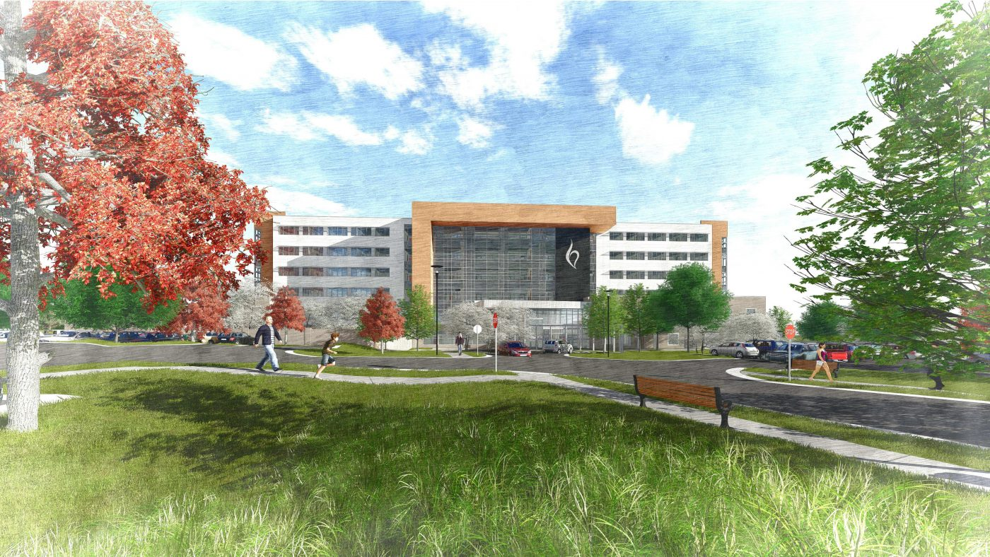 A rendering of Belmont's upcoming inpatient hospital